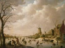 Hendrik Willem Schweickardt - Skaters on a Frozen Canal, 1779