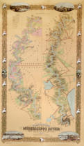 American School - Map depicting plantations on the Mississippi River from Natchez to New Orleans, 1858