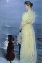 Peder Severin Kroyer - Summer Evening at Skagen, the Artist's Wife with a Dog on the Beach, 1892