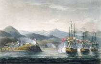 Thomas Whitcombe - The Squadron under the Command of Sir J. Brisbane attacking Fort Maurigio, on 12th April, 1814, engraved by T. Sutherland for 'T