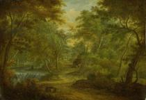 Thomas Smith of Derby - A Wooded Landscape with a Stream and a Fisherman