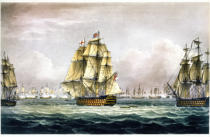Thomas Whitcombe - HMS Victory sailing for the French line flanked by the Euryalus and HMS Temeraire at the Battle of Trafalgar, October 21st, 1805