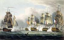 Thomas Whitcombe - Situation of the HMS Bellerophon after the death of her commander Captain Cooke at the Battle of Trafalgar, October 21st, 1805,