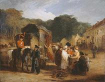 George Jones - The Village of Waterloo, with travellers purchasing the relics that were found in the field of battle, 1815, c.1821