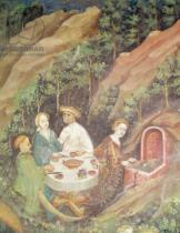 Bohemian School - Detail of The Month of May, detail of a picnic barbecue, c.1400