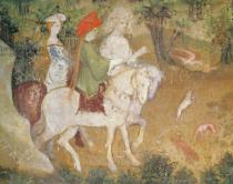 Bohemian School - The Month of September, detail of the departure for the hunt, c.1400