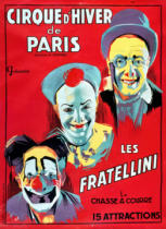 French School - Poster advertising the 'Cirque d'Hiver de Paris' featuring the Fratellini Clowns, c.1927