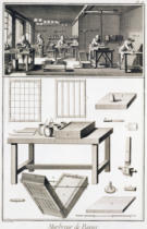 French School - A paper marbler's workshop and tools, from the 'Encyclopedie des Sciences et Metiers' by Denis Diderot (1713-84) published c.177