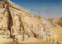 Louis M.A. Linant de Bellefonds - The Excavation of the Great Temple of Ramesses II, Abu Simbel, 1819