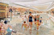 French School - View of the first class swimming pool on board the 'Normandie', from 'L'Illustration' magazine, 1st June 1935