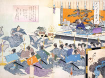 Japanese School - Warlord watches Samurai receiving his robes,  from a 19th Century Album of Woodcuts, Colour Wood Block Print