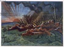 Paul Nash - Sunrise, Ruins of a Hospice, north west of Wytschaete, destroyed by bombardment in 1917, from British Artists at the Front, Cont