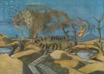 Paul Nash - Shelling the Duckboards, from British Artists at the Front, Continuation of The Western Front, 1918