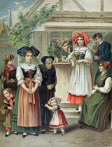 German School - Traditional costumes of the Strasbourg region, c. 1870-80