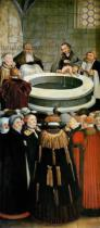 Lucas Cranach - Detail of Triptych, left panel, Philipp Melanchthon performs a baptism assisted by Martin Luther; centre panel, the Last Supper