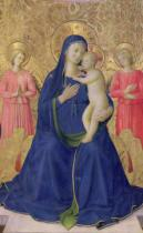 Fra Angelico - Detail of The Bosco ai Frati Altarpiece: The Virgin and Child enthroned with two angels, 1452