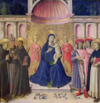 Fra Angelico - The Bosco ai Frati Altarpiece: The Virgin and Child enthroned with two angels between SS. Anthony of Padua, Louis of Toulouse an