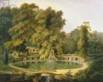 Thomas Daniell - Temple, Fountain and Cave in Sezincote Park, 1819