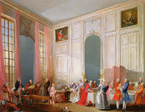Michel-Barthélemy Ollivier - The English Tea  and a Society Concert at the house of the Princesse de Conti, Palais du Temple, Paris with the Young Mozart at