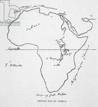 Richard Francis Burton - Sketch map of Africa, from 'The Life of Captain Sir Richard Burton, Volume II' by Isabel Burton (1831-96) published in 1893