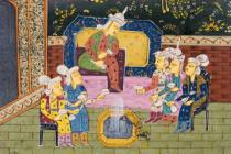 Persian School - Detail of Hunters and favourites drinking with noble or King
