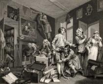 William Hogarth - The Young Heir Takes Possession of the Miser's Effects, plate I from 'A Rake's Progress', from 'The Works of William Hogarth', p