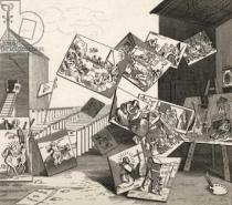 William Hogarth - The Battle of the Pictures, from 'The Works of Hogarth', published 1833