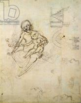 Leonardo da Vinci - Studies for a Virgin and Child and of Heads in Profile and Machines, c.1478-80