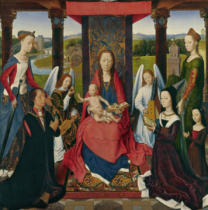 Hans Memling - The Virgin and Child with Saints and Donors, a panel from 'The Donne Triptych' c.1478
