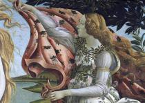 Sandro Botticelli - Detail of The Birth of Venus: detail of the female Hour figure offering her cloak, c.1485