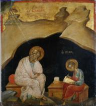 Greek School - St. John the Evangelist with his scribe Prochoros