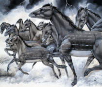 Richard Hook - Horses in Miniature, from 'Beasts from Long Ago', 1970