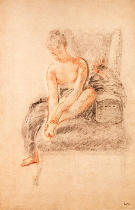 Jean Antoine Watteau - Semi-nude woman seated on a chaise longue, holding her foot