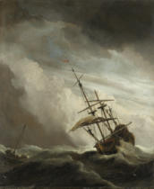 Willem van de Velde - A Ship on the High Seas caught by a Squall, known as the 'Gust', 1680