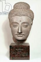 Indian School - Head from a statue of the Buddha, from Gandhara, north-west India