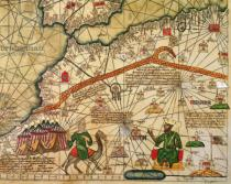 Abraham Cresques - Detail of Copy of a Catalan Map of Europe and North Africa, presented to Charles V of France in 1381