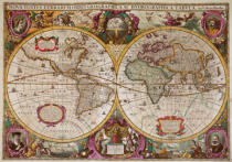Hendrik Hondius - A New Land and Water Map of the Entire Earth, 1630