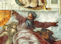 Michelangelo Buonarroti - Detail of Sistine Chapel Ceiling: Creation of the Sun and Moon, 1508-12