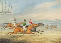 Henry Thomas Alken - Steeplechasing: Three Riders galloping to right, mounted spectators in background