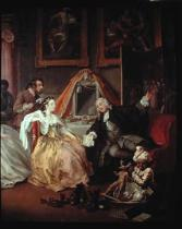 William Hogarth - Marriage a la Mode: IV, The Countess's Morning Levee, detail showing the Countess and her lover, Silvertongue the lawyer, before