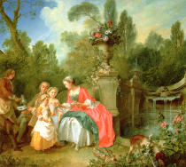 Nicolas Lancret - A lady and a gentleman in the Garden with two children c. 1742