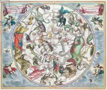 Andreas Cellarius - Map of the Southern Hemisphere, from 'The Celestial Atlas, or The Harmony of the Universe' , published by Joannes Janssonius, Am