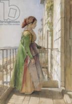 John Frederick Lewis - A Greek Girl Standing on a Balcony, c.1840