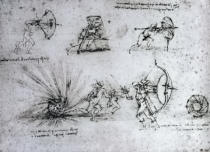 Leonardo da Vinci - Study with Shields for Foot Soldiers and an Exploding Bomb, c.1485-88