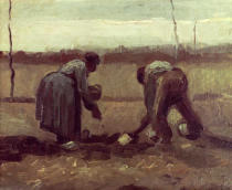 Vincent van Gogh - Two Peasants Planting Potatoes, 1885