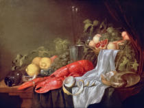 Jasper Geerards - Still life of fruit and a lobster on a cloth-draped table