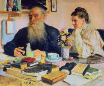 Ilya Efimovich Repin - Leo Tolstoy with his wife in Yasnaya Polyana, 1907