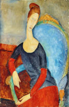 Amedeo Modigliani - Mme Hebuterne in a Blue Chair, 1918