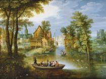 Marten Ryckaert - A river landscape with the Flight into Egypt
