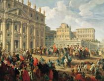 Giovanni Paolo Pannini - Charles de Bourbon visiting Pope Benedict XIV at St Peter's, Rome, 1745
